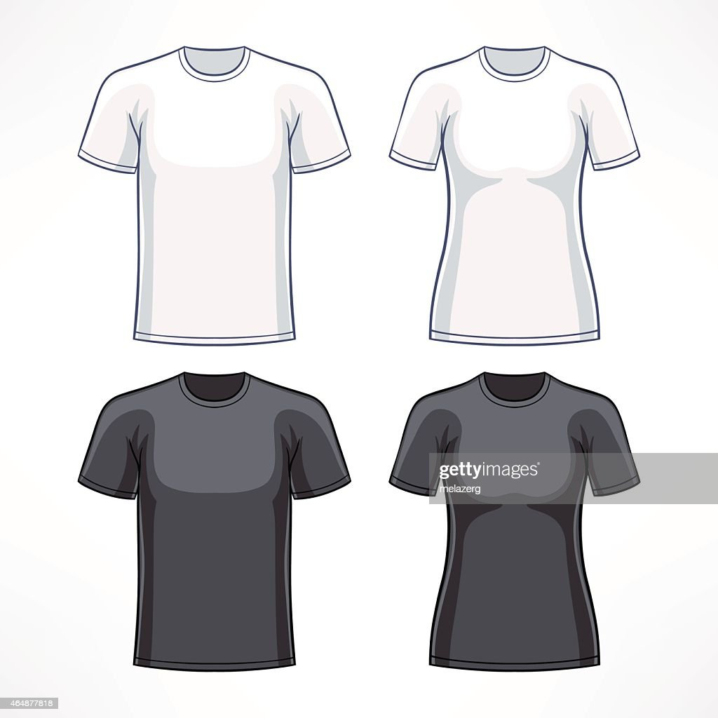Illustration of black and white T-shirts for men and women