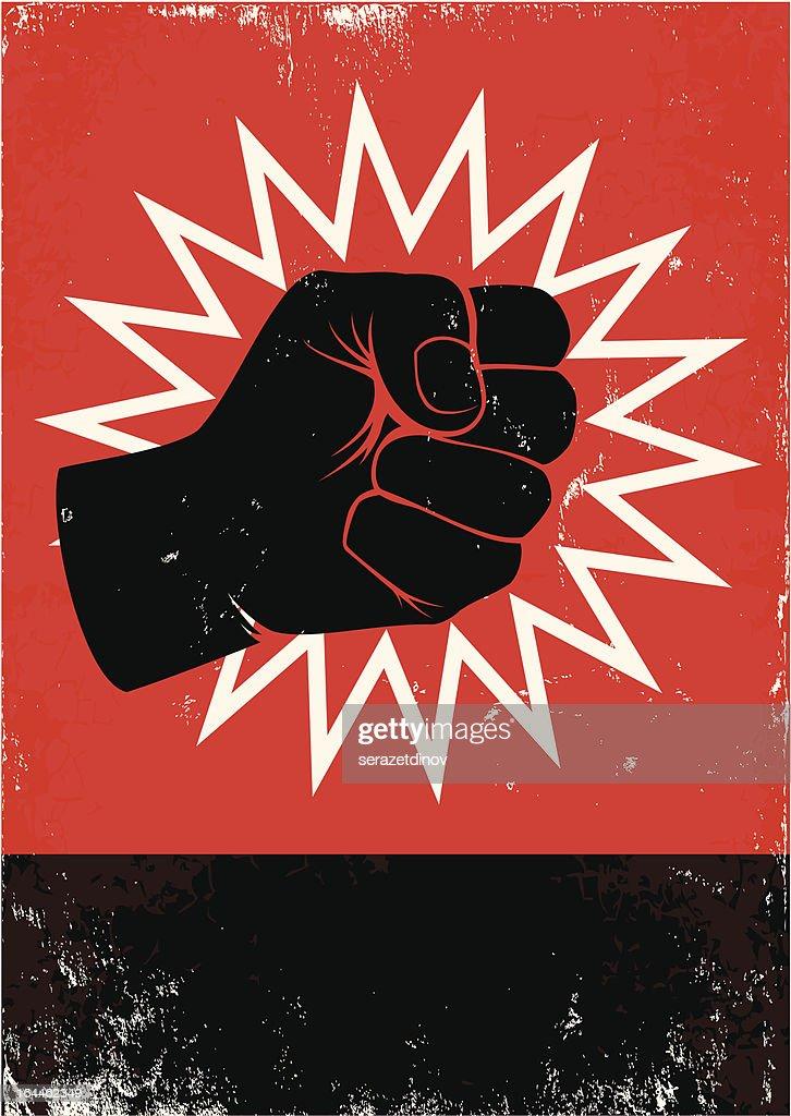 Illustration of black fist on red background