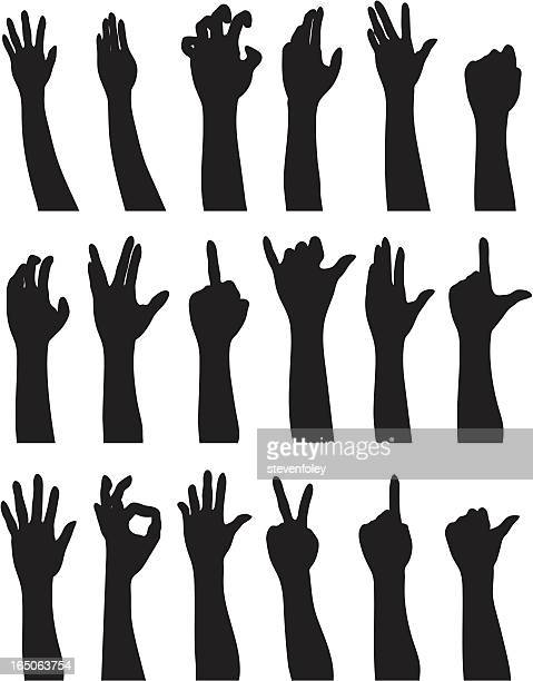 illustration of black hand silhouette showing different sign - obscene gesture stock illustrations, clip art, cartoons, & icons