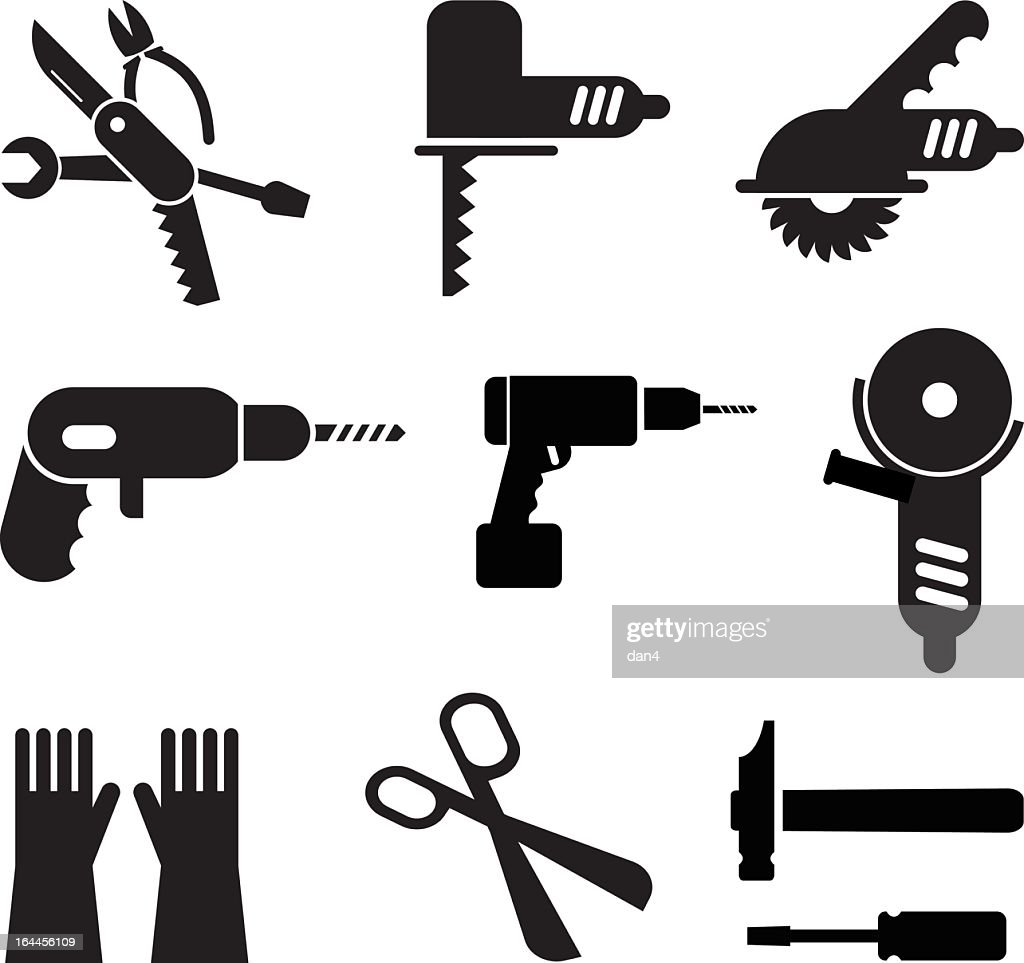 Illustration of black tool icons in a white background