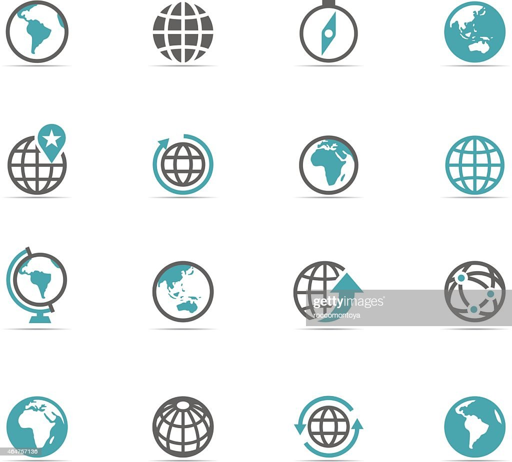 Illustration of blue and gray globe icons