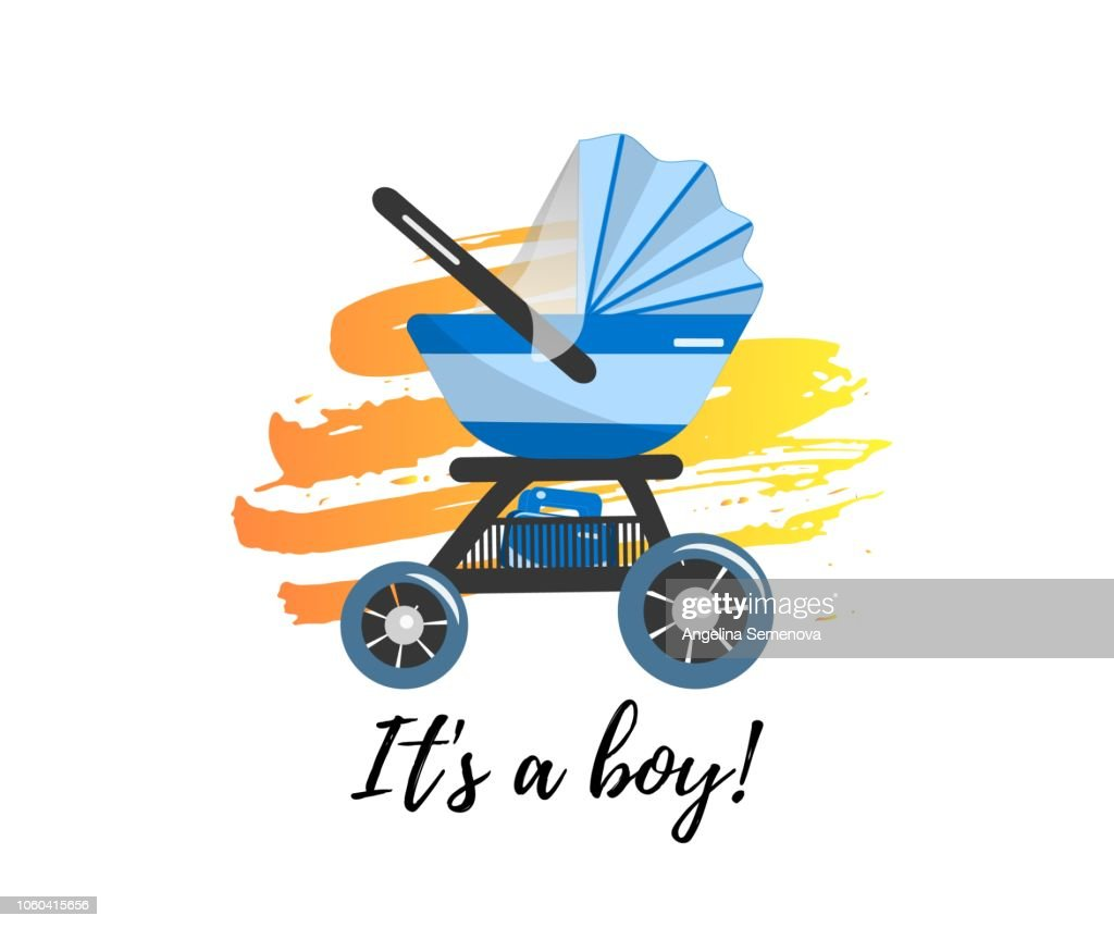Illustration of Blue Baby stroller for baby boy with bag. Vector icon.