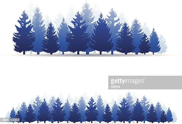 Illustration of blue forest trees