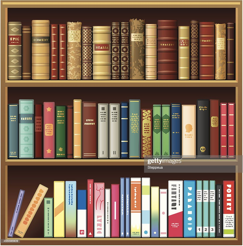 Illustration of book shelf with old and new books