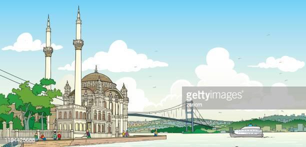 ilustrações de stock, clip art, desenhos animados e ícones de illustration of bosphorus, istanbul - turquia