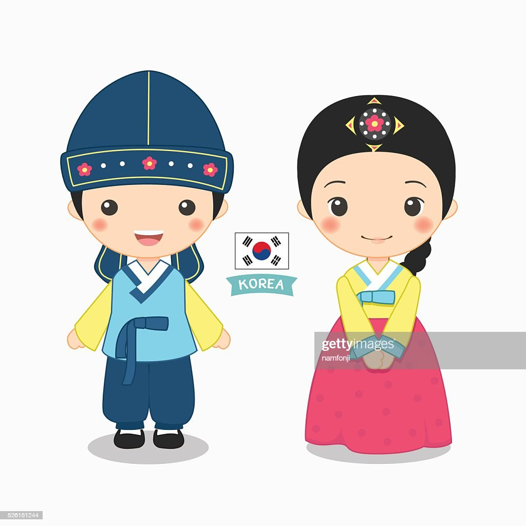 illustration of boy and girl in korean costume