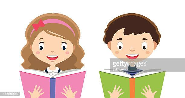 Illustration of boy and girl reading books, smiling