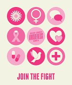 Illustration of breast cancer awareness icons in pink