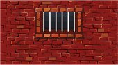 Illustration of brick wall with prison bars over window