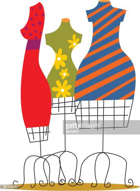 Illustration of brightly colored dresses on wire dress forms