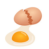 illustration of broken egg on white background