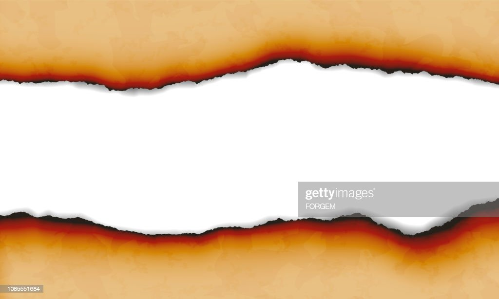 Illustration of burnt torn paper isolated on white background with space for text - vector