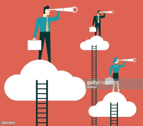 illustrazioni stock, clip art, cartoni animati e icone di tendenza di illustrazione di uomini d'affari in cerca di opportunità - previsione