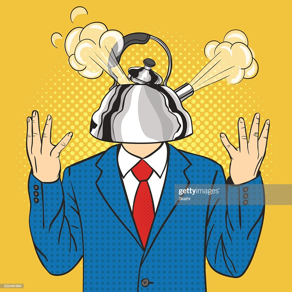 Illustration of businessman with the kettle instead of a head