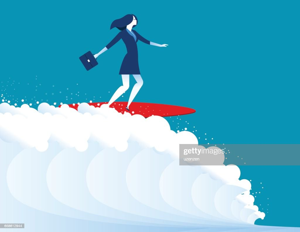 illustration of businesswomen surfing. Concept business. Vector