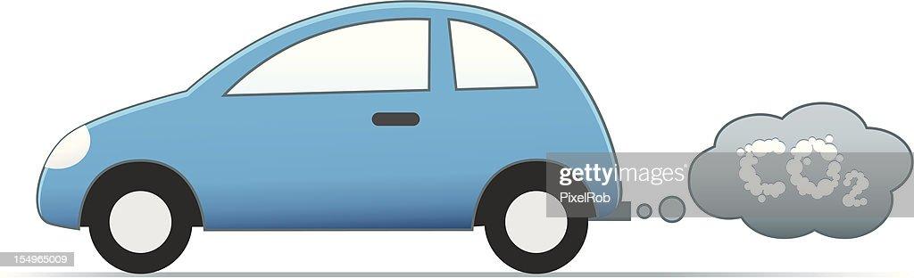 Illustration of car emitting CO2