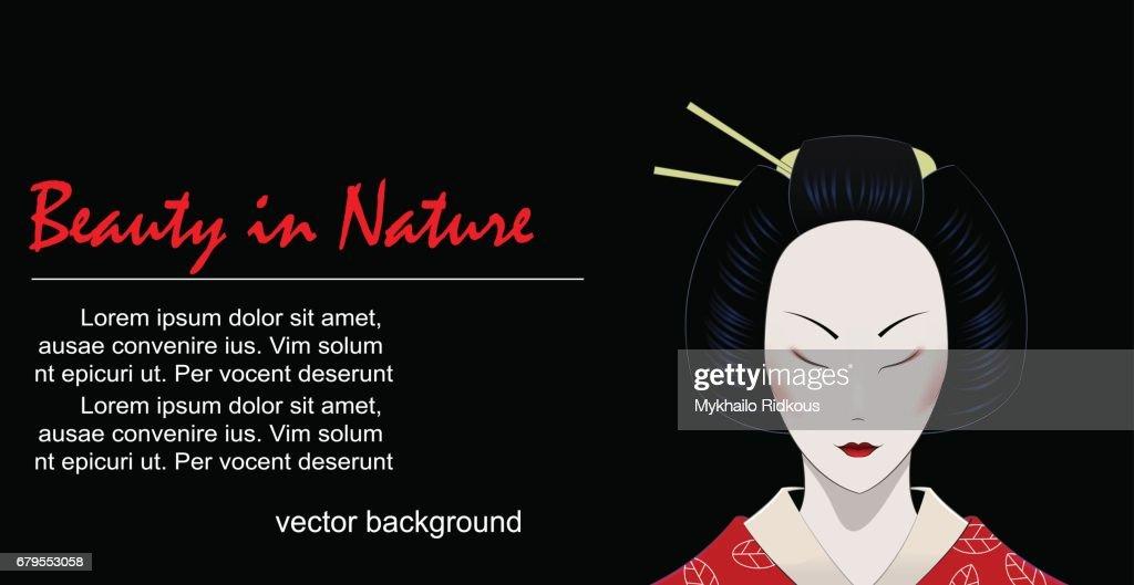 Illustration of cartoon geisha with closed eyes