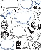 Illustration of cartoon icons with empty speech bubbles