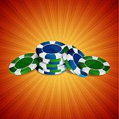 Illustration of casino chips on red orange background