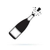 Illustration of champagne bottle explosion icon