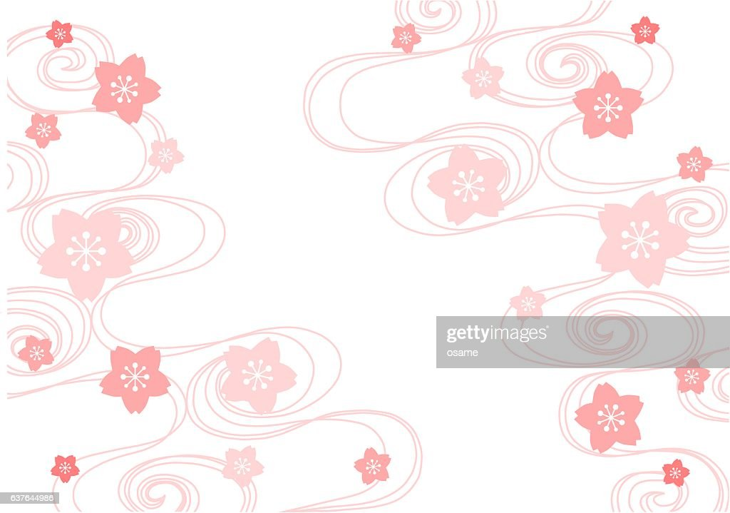 Illustration of cherry blossom and flowing water