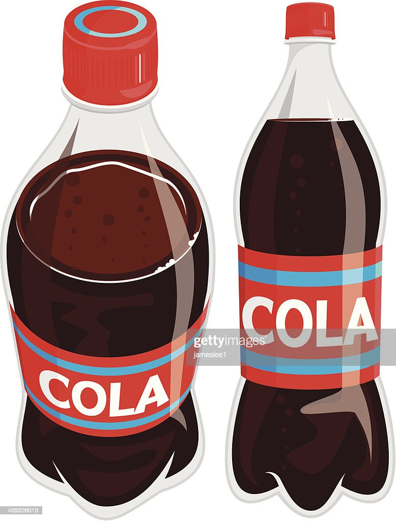 Illustration of cola bottle from high and front angles