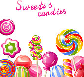 Illustration of colorful lollipops with wording