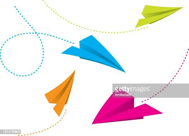 illustration of colorful paper planes flying - vapor trail stock illustrations, clip art, cartoons, & icons