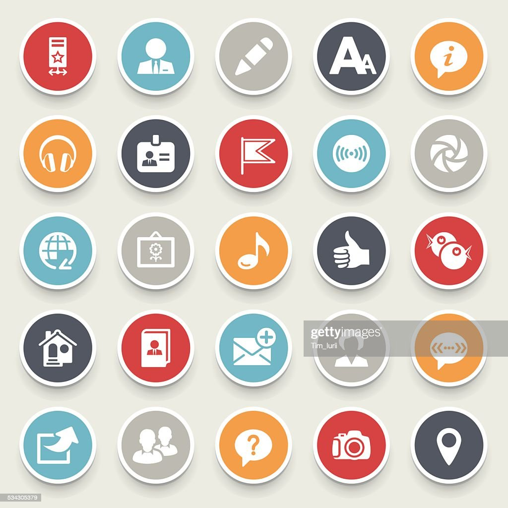 Illustration of colorful social media icons on a gray background.