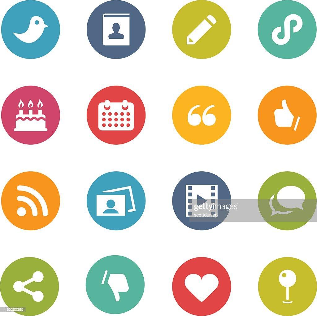 Illustration of colorful social media symbols