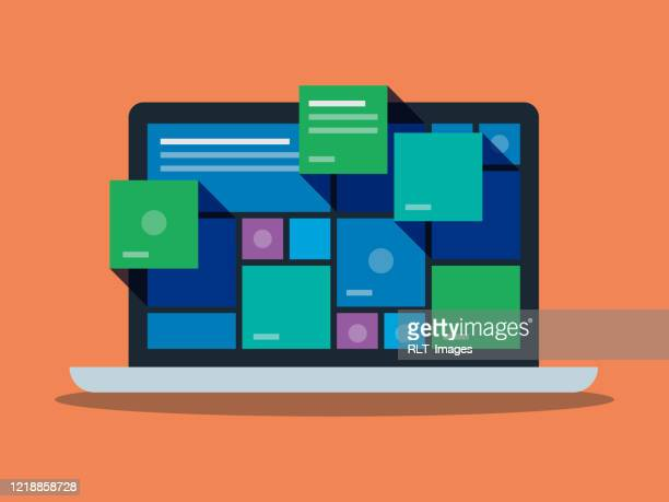 illustration of colorful user interface graphics on laptop computer screen - accessibility stock illustrations