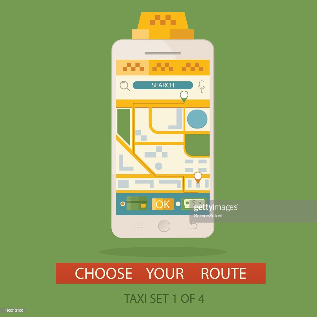 illustration of concept process booking taxi and creating route