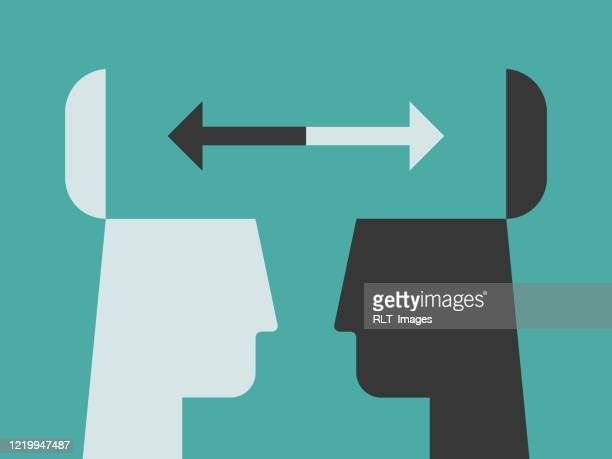 illustration of contrasting head silhouettes exchanging ideas with open minds - point of view stock illustrations