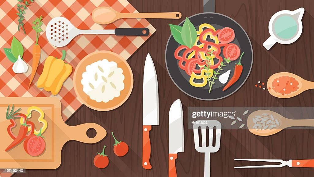 Illustration of cooking utensils and peppers