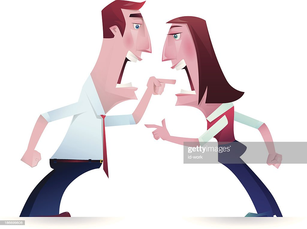 Illustration of couple yelling and pointing at each other