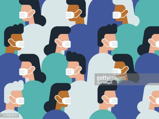 医療マスクを着用した群衆のイラスト - マスク点のイラスト素材/クリップアート素材/マンガ素材/アイコン素材