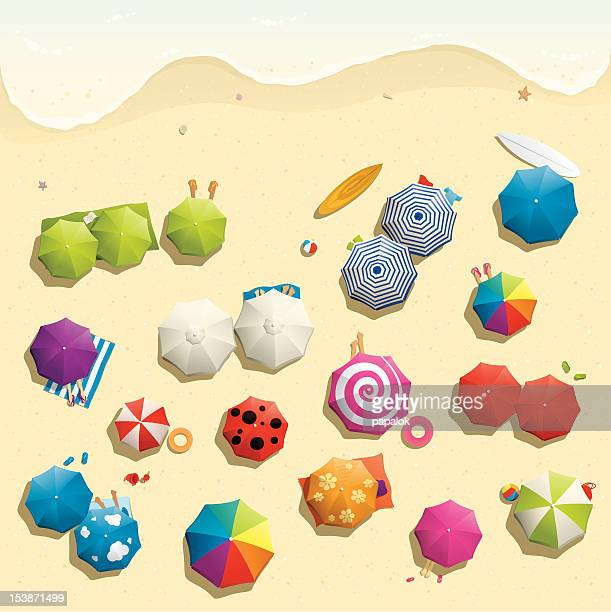 illustration of crowded beach in summer - looking down stock illustrations, clip art, cartoons, & icons