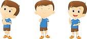 illustration of cute Cartoon Boy thinking