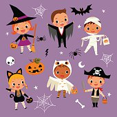 illustration of cute cartoon children in colorful Halloween costumes.