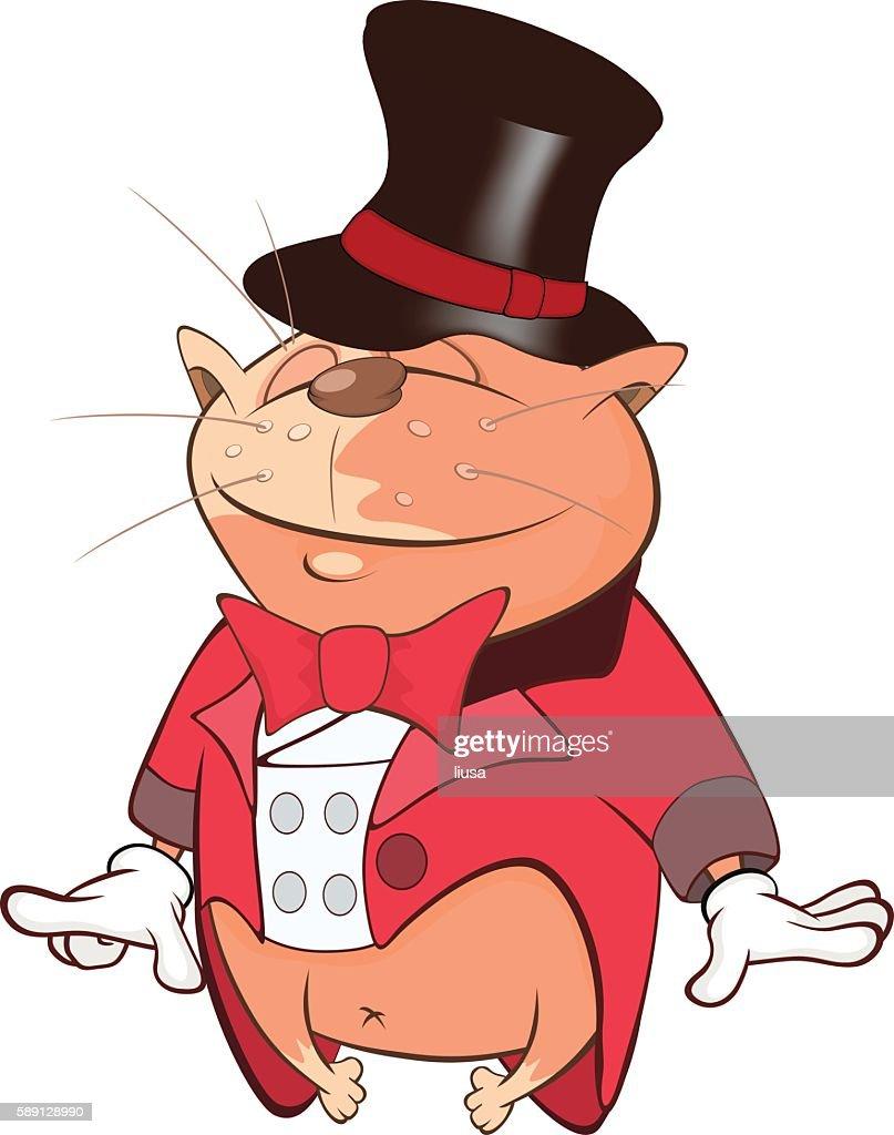 Illustration of Cute Cat Actor Cartoon Character