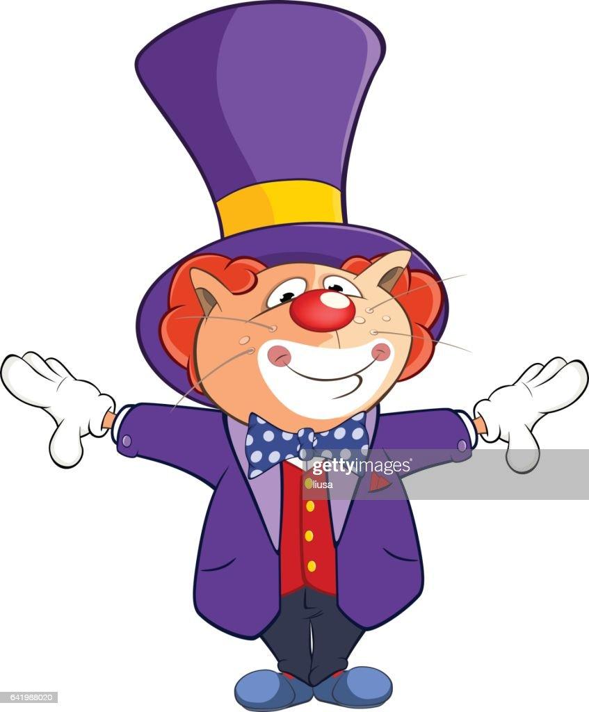 Illustration of  Cute Cat Clown Cartoon Character