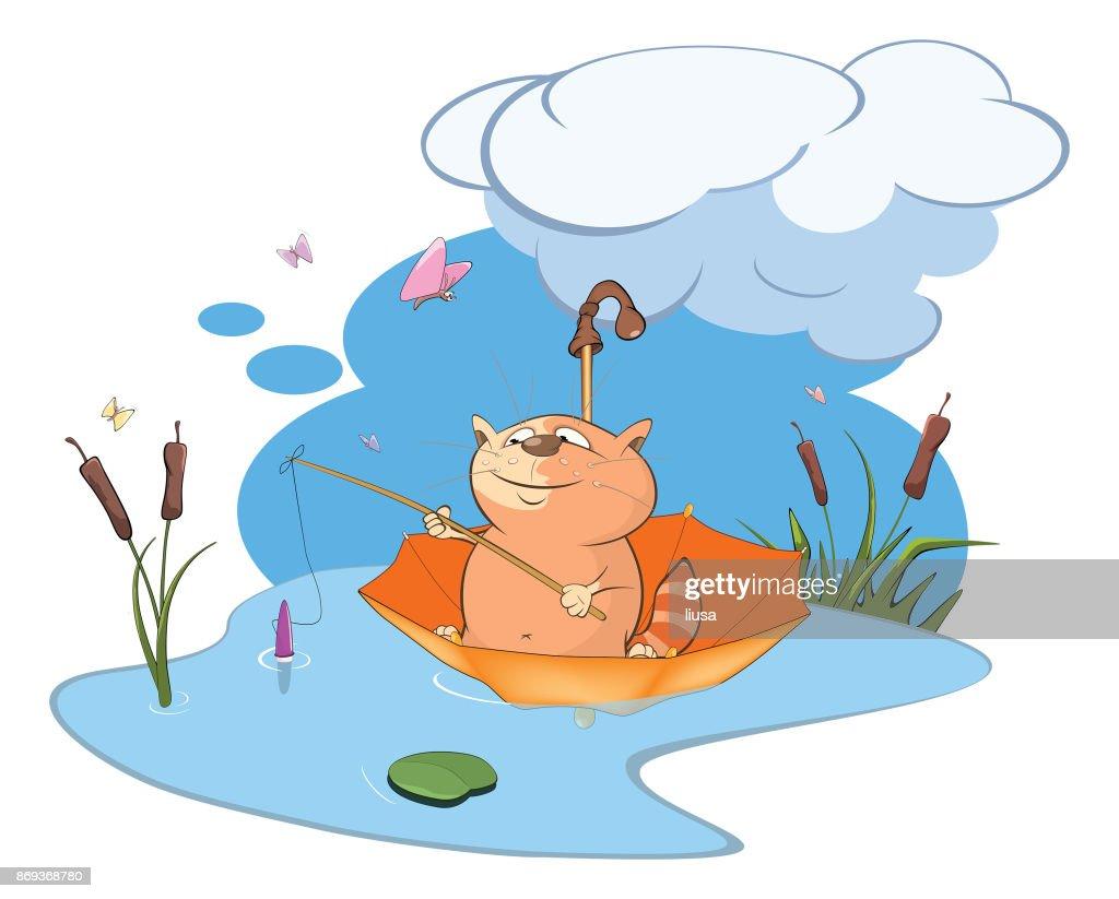 Illustration of  Cute Cat Fisherman Cartoon Character