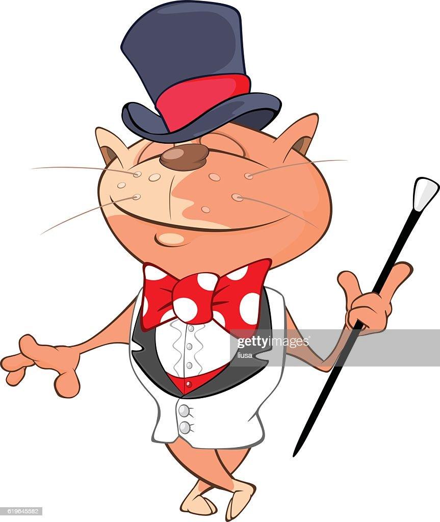 Illustration of Cute Cat Gentleman Cartoon Character