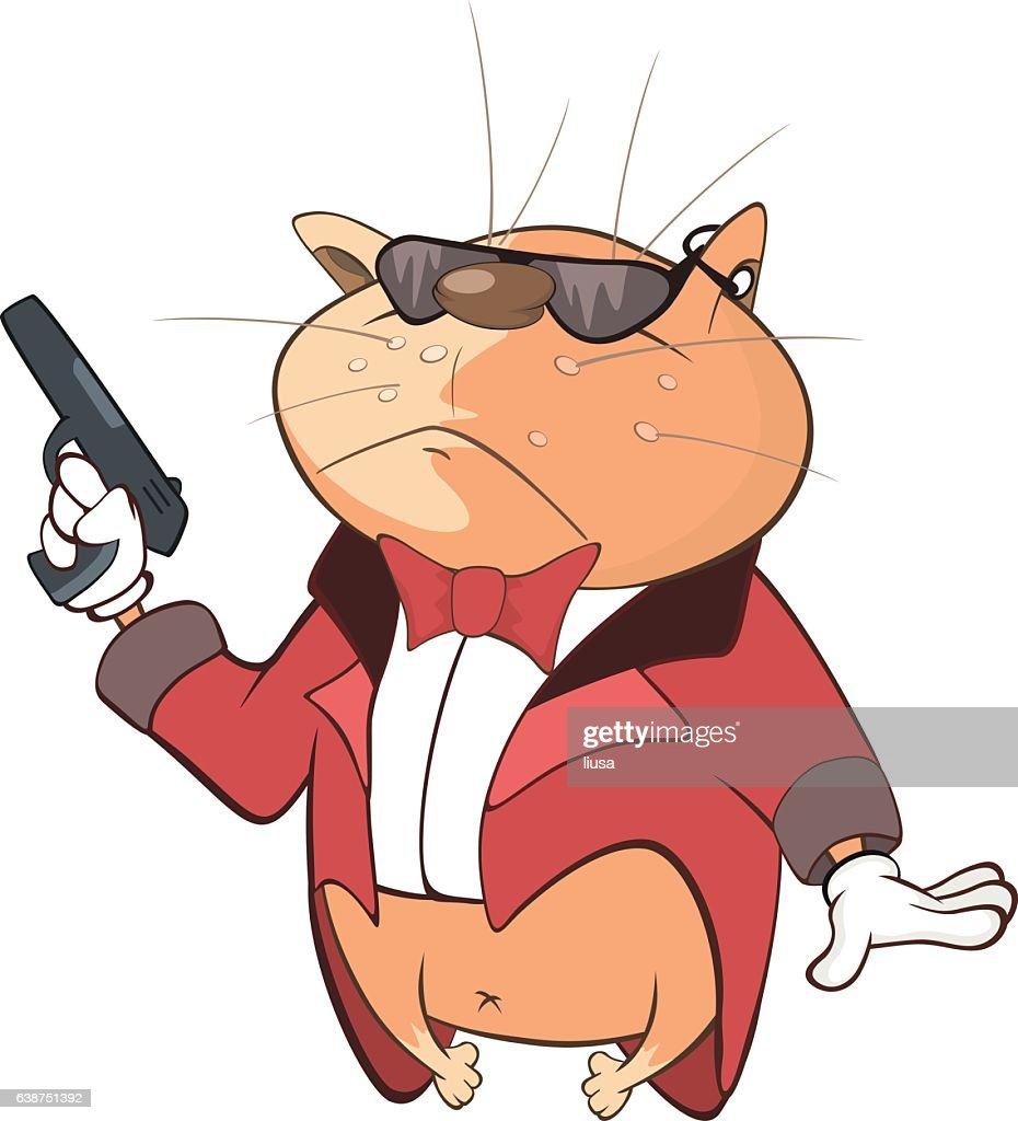 Illustration of Cute Cat Secret Agent Cartoon Character