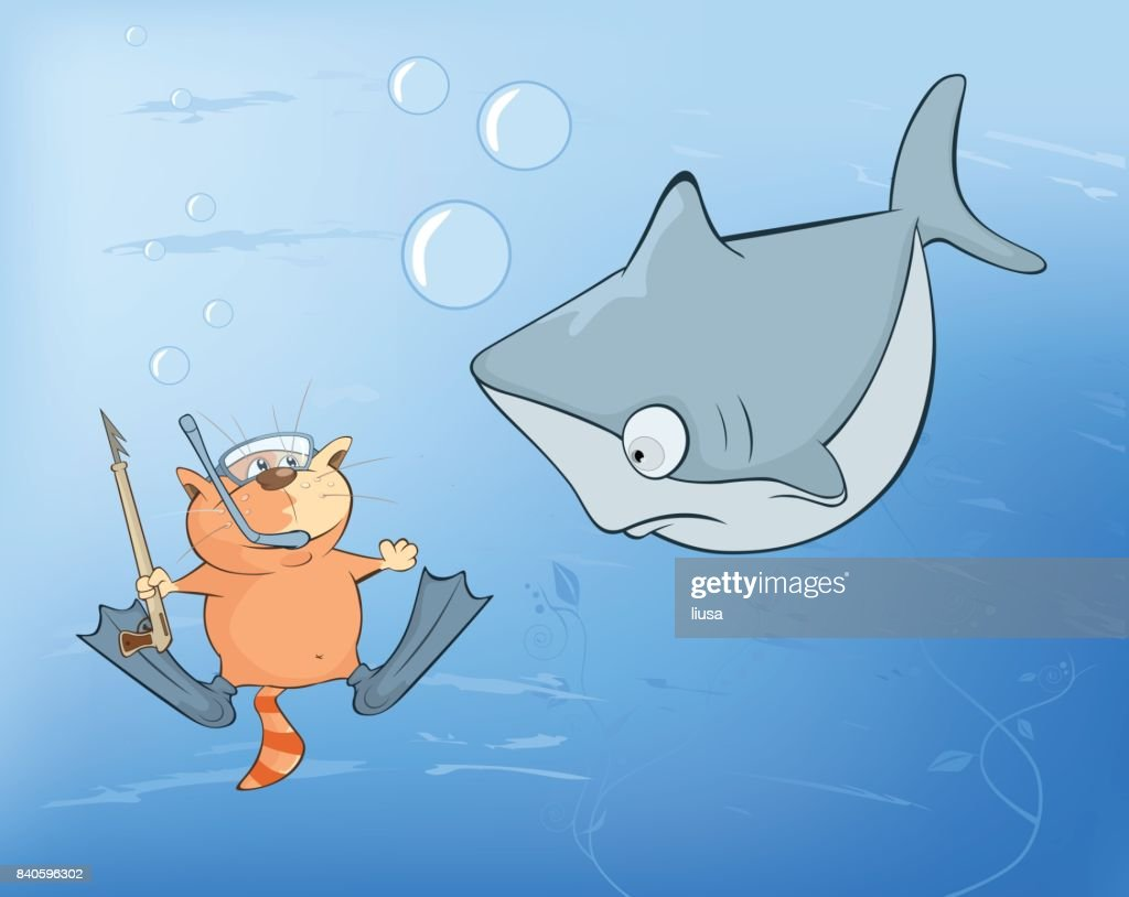 Illustration of  Cute Cat Underwater Adventures