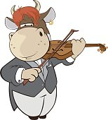 Illustration of Cute Cow Violinist Cartoon Character