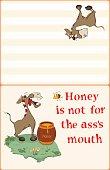 Illustration of Cute Donkey Postcard Proverb