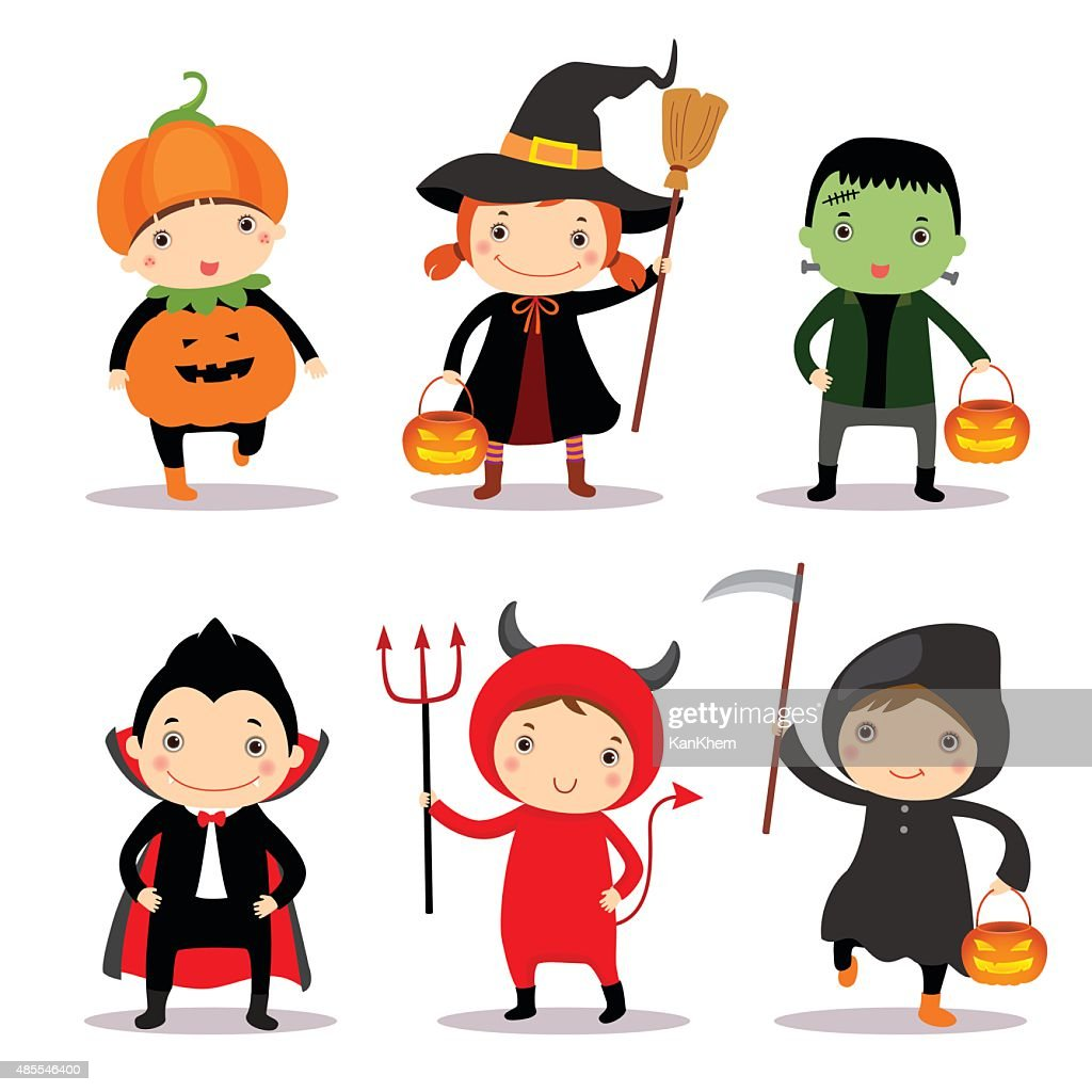 Illustration of cute kids wearing halloween costumes