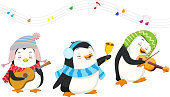Illustration of cute penguins playing christmas musical instruments