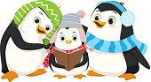 Illustration of Cute Penguins Singing Christmas Carol